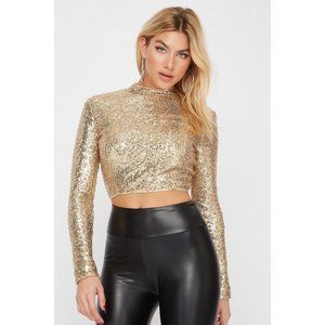 Revamped  sequin crop long sleeve top with zipper